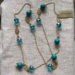 Turquoise crystal and golf necklace